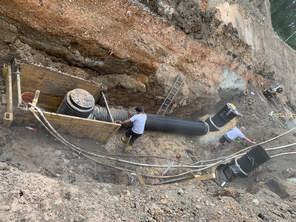 Bau der Regenwasser-Reinigungsanlage